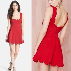 Nasty Gal Scallop Trim Red Skater Dress Size Small